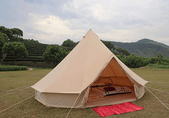 Glampcamp 100% Cotton Canvas Waterproof and Fireproof Bell Tent
